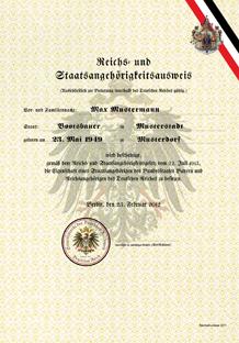 Reichs- und Staatsangehörigkeitsurkunde (staatlicher Ausweis)